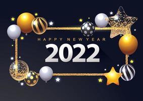 2022 new year greeting card or banner 3D metallic stars balls vector