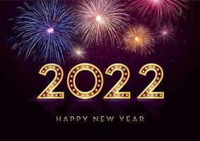 Colorful fireworks 2022 Happy New Year vector illustration