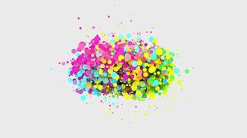 Animation of glittering colorful sphere particles on white background video