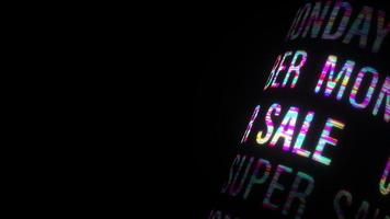 Seamless 3D Special Offer Cyber Monday Super Sale colorful glitch text video