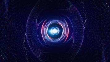 túnel de vórtice de malla de alambre azul rojo resplandor abstracto con destello óptico video