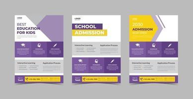 School admission flyer design bundle vector