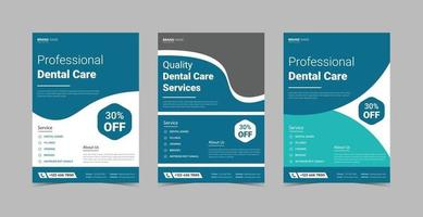 paquete de plantillas de diseño de volante de cuidado dental vector