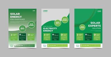 Solar energy flyer design template bundle vector