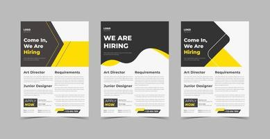 We are hiring flyer design template bundle vector