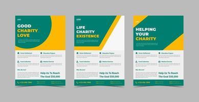 Charity support flyer design template bundle. vector