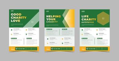 Charity support flyer design template bundle vector