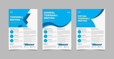 Townhall meeting flyer design template bundle vector