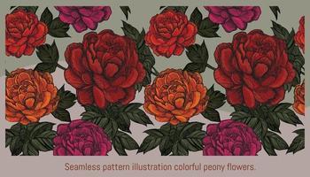Ilustración de patrones sin fisuras coloridas flores de peonía. vector