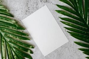 A blank card with envelope and leaf is placed on white background photo