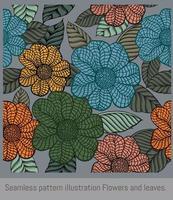 ilustración de patrones sin fisuras flores y hojas. vector