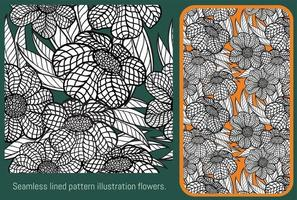 flores de ilustración de patrón rayado transparente. vector