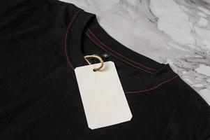 Black t-shirt with clear tag photo