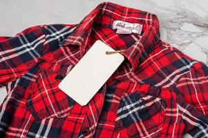Red plaid shirt with tag photo
