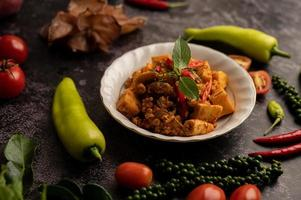 Stir Fried Curry Paste with Bamboo Shoot and Minced Pork. photo