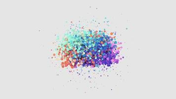 Animation  glittering colorful sphere particle  on white background video