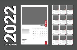 New Business Style Clean and Minimalist 2022 Calendar design template, vector