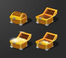 Ilustración de vector 3D de caja de cofre del tesoro y conjunto de monedas