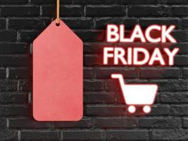 Red tag with text Black Friday with 3D style photo