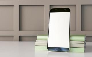 teléfono móvil sobre fondo pastel con gráficos 3d. foto
