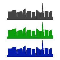 Dubai Skyline Illustrated On White Background vector