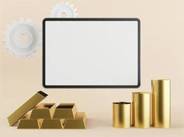 Silver-gold educational tablet used in 3D style light pink background. photo