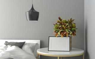 Picture frames with plant pots adorn the living room. photo