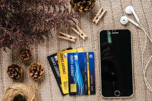 Smart phone and credit card with background photo