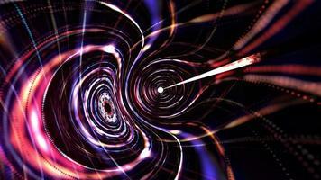 túnel de marco de alambre cibernético hipnótico de malla de rejilla de luz de neón colorida video