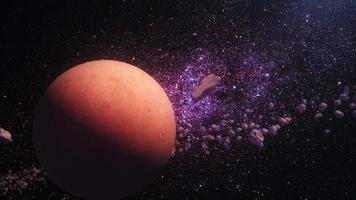 outer space view brown red alien planet rotating in the outer space video
