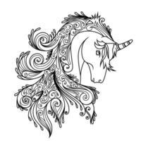 Unicorn Ornament Linear Style vector