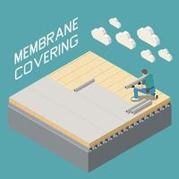 Roofer Isometric Composition vector