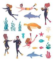 Diving Snorkeling Icon Set vector