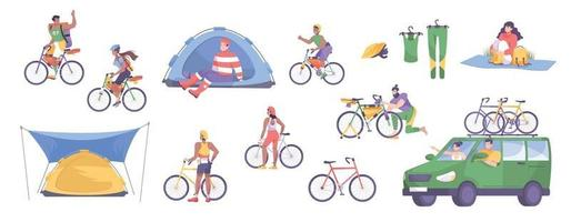 Bike Tourism Flat Icon Set vector