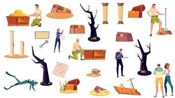 Treasure Hunt Icons Set vector