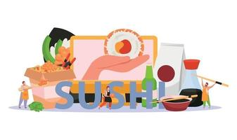 Sushi Flat Colored Background vector