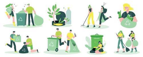 conjunto plano de reciclaje de basura vector