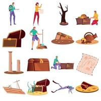 Treasure Icons Set vector