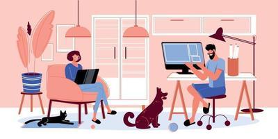 Freelance Work Process Composition vector