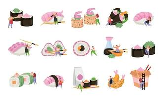 Sushi Flat Recolor Icon Set vector