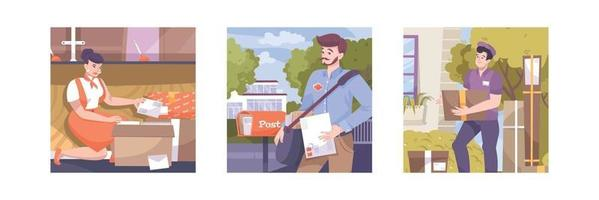 Mail Post Square Compositions vector