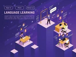 Language Learning Isometric Website vector