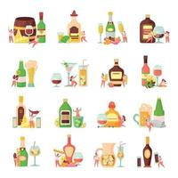 Alcoholic Cocktails Flat Icons vector