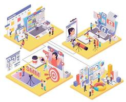 Blogging Vlogging Isometric Compositions vector