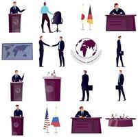 Diplomacy And Diplomat Icons Set vector