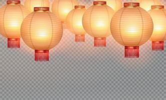 Chinese Lanterns Realistic Set vector