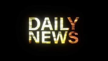Daily News Text gold light animation loop with effect video