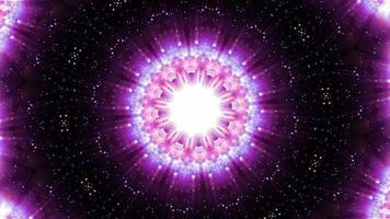 projeto gráfico de mandala caleidoscópio de brilho rosa movimento estrela em forma de caleidoscópio video