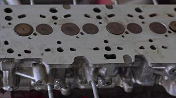 Close up shot of Rebuilt Cylinder Head With Valves For Car Footage video