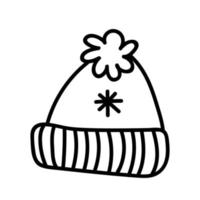 Winter warm hat with pompom isolated on white background vector